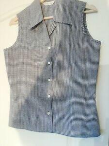 Blouse 12 Black white fine check Sleeveless button up shirt Design Essentials