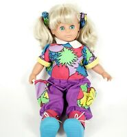 """SIMBA Vintage 80s Toddler Doll 18"""" Open Close Blue Eyes Retro Geometric Outfit"""