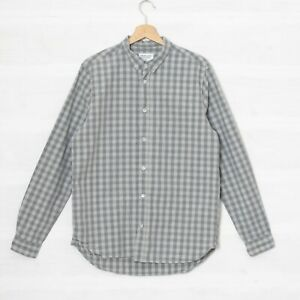 UO Urban Outfitters Shore Leave Men's M Grey Check Shirt Button Down Collar