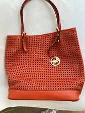 Authentic Perforated Leather Michael Kors Orange  Large Shoulder Tote Bag