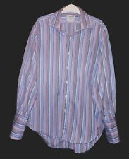T M LEWIN COLORFUL FINE STRIPES HIGH QUALITY DRESS SHIRT TML7841