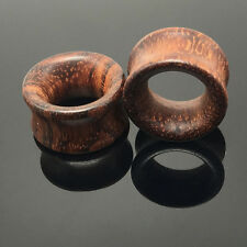 1Pair Brown Natural Wood Saddle Ear Plugs Hollow Piercing Fresh Tunnels sz