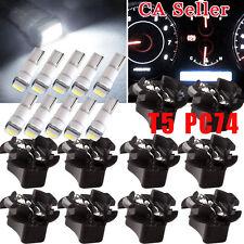 10x PC74 PC194 White LED T5 Instrument Panel Cluster Panel Bulb Light Lock Twist