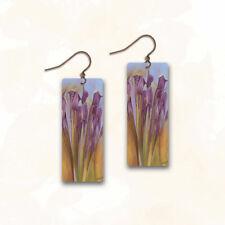 DC Designs Jewelry SH14CE EARRINGS Antique Copper Abstract Purple Flowers Art
