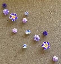 12 Decorative Purple Flower Thumbtacks Push Pins Cork Board Thumb Tacks Office