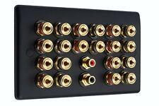 Speaker Wall Plate Matt Black 10.2 20 Binding Posts + 2 RCA AV Audio Non-solder