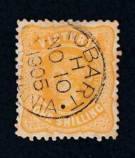 """Australia Tasmania """"HOBART -TASMANIA"""" Postmark on 1 Shilling VICTORIA stamp"""