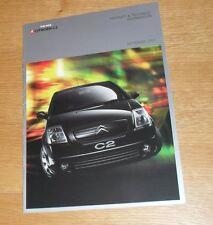 Citroen C2 Specification Brochure 2003 - L LX SX Furio VTR - 1.1 1.4 1.6 HDI