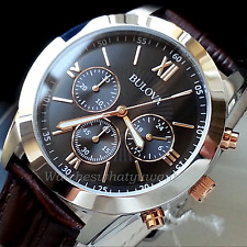 BULOVA MENS CHRONOGRAPH WATCH 40MM S-STEEL ROSE GOLD BROWN LEATHER NEW RRP £249
