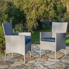 Supernova 2PC Outdoor Grey Wicker Steel Frame Patio Dining Chairs with Cushions