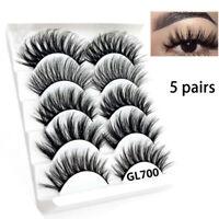 3D 5 Paires Faux Cils épais Long Naturel Maquillage Beauté  Vison Fake Eyelashes