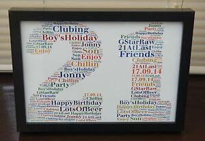 1st 18th 21st 30th 40th 50th 60th Birthday Personalised Word Art Gift Keepsake.
