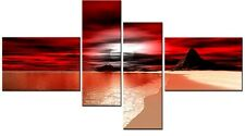 4 PANEL TOTAL 138x78cm  CANVAS WALL ART ABSTRACT PRINT MOUNTED SANDY BAY RED