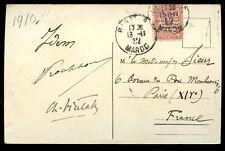 France Cols Moroc 1922 PPC Rabat to Paris 10c/10c Protectorate