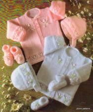 """""""Rosebud"""" Baby Coat Bonnet & Bootee Pattern 14""""-20"""" DK"""