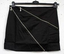 NEU ausgefallener Damen Mini Stretch Rock in schwarz Deko Reißverschlüsse Gr. 44