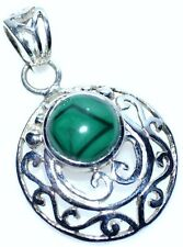 925 Sterling SILVER Malachite Pendant Filigree Green Gemstone Unique Jewellery