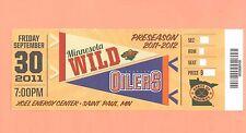 Edmonton Oilers at Minnesota Wild 9-30-11 ticket stub UNused GEM MINT condition