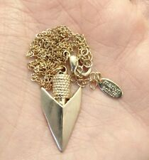 MARLYN SCHIFF NECKLACE ARROW HEAD GOLD TONE SIGNED DESIGNER QVC