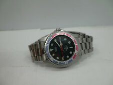 Vintage Citizen 6100-g03472k Mens Day Date Pepsi Stainless Steel Watch New Batt