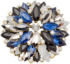 Brosche Kristall Blau Strass groß Nadel sehr edel Vintage  brooch blue crystal