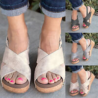Women Espadrilles Platform Mid Wedge Sandals Summer Peep Toe Slingback Shoes New