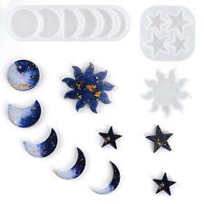Resin Casting Silicone Mold Moon Star Sun Keychain Pendant Jewelry Epoxy Craft