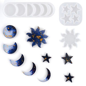Resin Casting Silicone Mold Moon Star Sun Keychain Pendant Jewelry Epoxy Craft