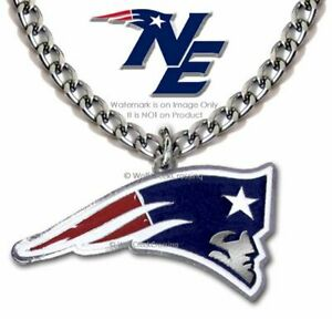 NEW ENGLAND PATRIOTS STAINLESS STEEL CHAIN NECKLACE NFL FOOTBALL  FREE SHIP LRG'