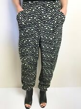 Veronika Maine black green white print harem pants has pockets sz 12
