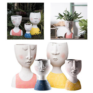 Vintage Art Portrait Sculpture Flower Pot, Indoor Outdoor Resin Head Artistic