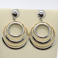18K YELLOW WHITE GOLD PENDANT EARRINGS ALTERNATE WORKED CIRCLES, MADE IN ITALY