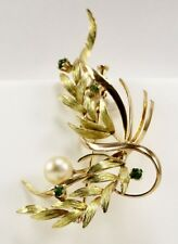 Estate Pearl and Jade Pin in 18kt Yellow Gold
