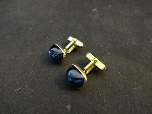 Beautiful Swank Gold Tone Blue Pair Of Cufflinks Jewelry