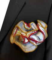 NEW - Antonio Ricci Double Color Pouf Pocket Square - Gold and Red on Grey