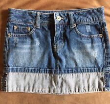 *Sale* Limited Too Distressed Jean Denim Skirt Bling On Bottom Size 10