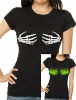 Ladies fitted HALLOWEEN SKELETON HANDS  Glow-In-The-Dark Funny T-shirt