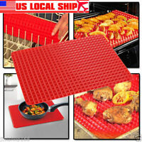 Pyramid Pan Fat Reducing Non Stick Silicone Cooking Mat Oven Baking Tray Safety
