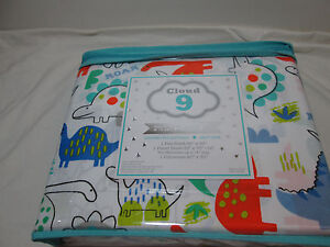 Cloud 9 DINOSAUR DINO GINO ROAR Twin Sheet Set ~ Orange, Blue, Green, Grey Black