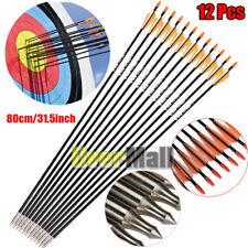 12Pcs Archery Arrow Fiberglass Arrows Nocks Fletched Target Practice Hunting Use