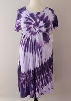 XL LuLaRoe Carly Dress Factory Tie Dye Acid Wash Purple Lavender Pink Cotton 373