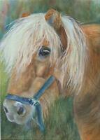 NORWEGIAN ICELANDIC HORSE PONY NATURE OUTDOORS IMPRESSIONISM WATERCOLOR PAINTING