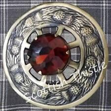 "Scottish Pin Brooch 3""/Kilt Fly Plaid Brooch Brown Stone Antique Finish/Ladies"