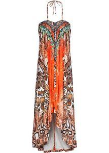 Sommerkleid Gr. 36 38 orange bunt sexy Neckholder Kleid weit schwingend neu