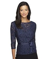 2X ALEX EVENINGS Blue Jay Navy Illusion Lace Blouse Top NWT $129