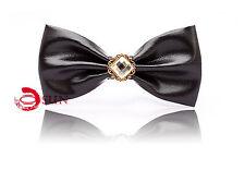 Men Black Faux Leather Crystal Diamond Looks Bow Tie Bowtie Wedding Party Ball