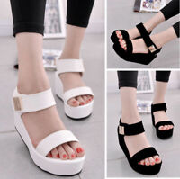 Women Summer High Platform Sandals Ankle Strap Flat Open Toe Casual Shoes