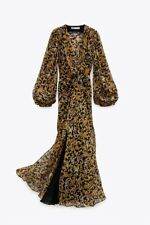 new ZARA long printed dress,yellow&black,metallic thread,midi-maxi,XXL,8117/029
