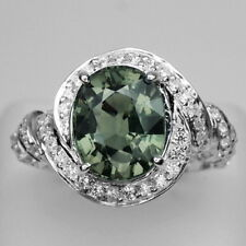 SPLENDID! GREEN AMETHYST MAIN STONE 4.7 CT. & SAPPHIRE 925 SILVER RING SIZE 6.75