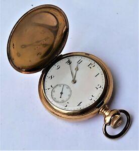 NO RESERVE 1895 Full Hunter Waltham Gold Plated Pocket Watch Vintage Antique